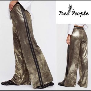 Free People Wide-Leg Gold Track Pants